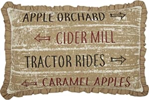 VHC Brands Bingham Star Orchard, Cider Mill, Tractor Rides, Caramel Apples Text Burlap Cotton Americana Thanksgiving Decor Stenciled 22x14 Filled Pillow, Soft Black