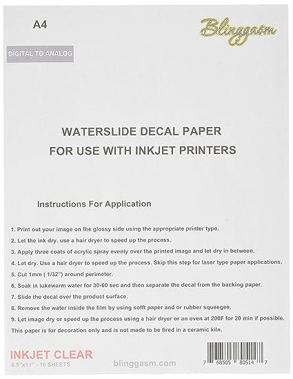 blinggasm Waterslide de papel para 10 hojas unidades, claro ...