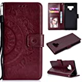 Funyye Strap Magnetic Flip Cover for Samsung Galaxy Note 9,Luxury Brown Totem Flower Pattern Wallet Case with Stand Credit Card Holder Slots Soft Silicone PU Leather Case for Samsung Galaxy Note 9