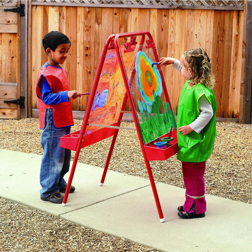 Colorations 2-Way Indoor/Outdoor Adjustable Acrylic Panel Easel for Kids (23''L x 29-1/2''W x 45''H)