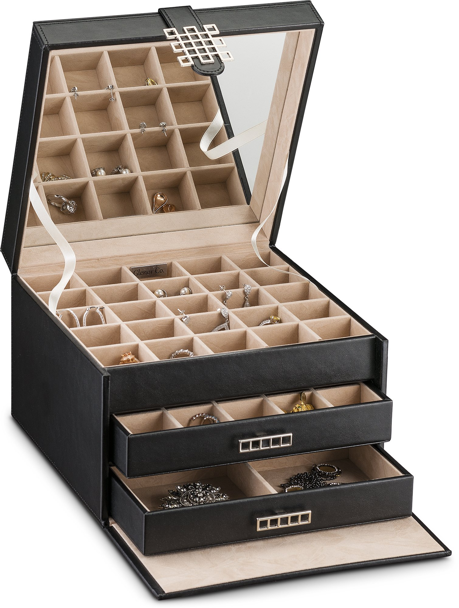 Glenor Co Earring Organizer Holder - 50 Small & 4 Large Slots Classic Jewelry box with Drawer & Modern Closure, Mirror, 3 Trays for All Sizes Earrings, Ring or Chain Storage - PU Leather Case - Black