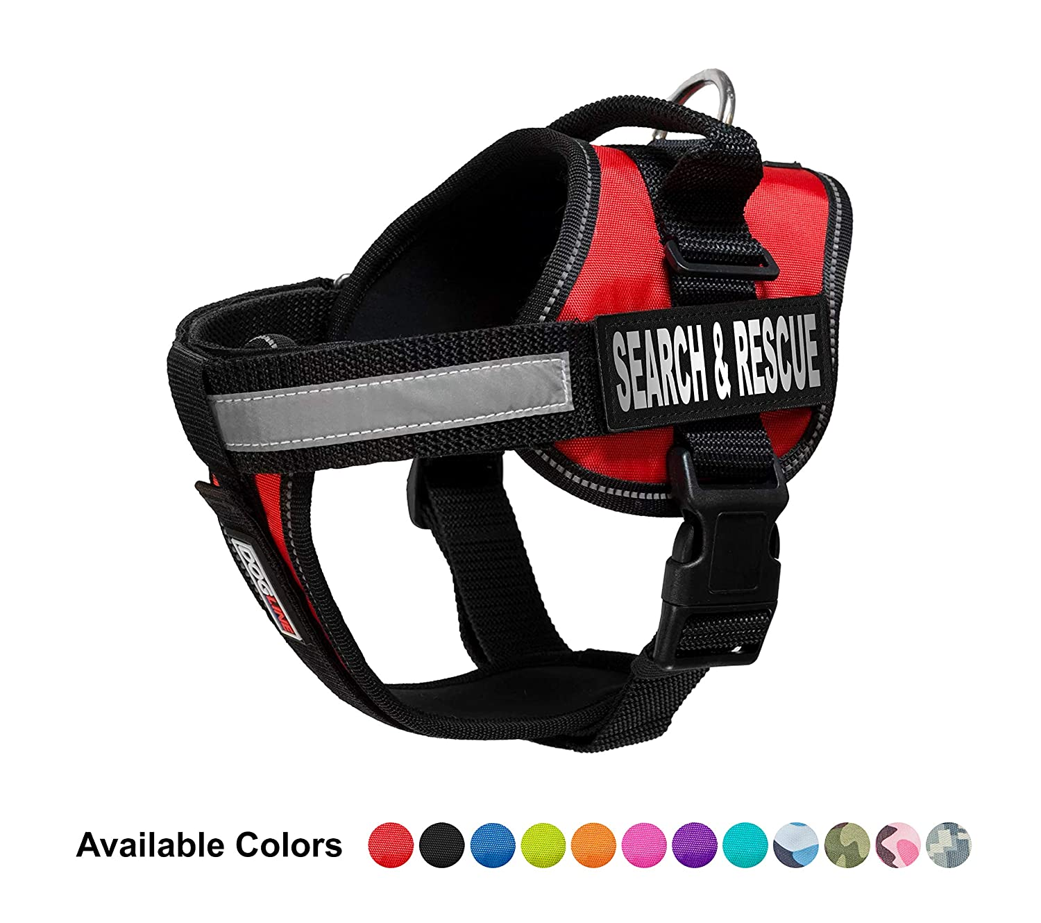 Red Medium (22\ Red Medium (22\ Dogline Unimax Multi-Purpose Vest Harness for Dogs and 2 Removable Search and Rescue Patches, Medium, Red