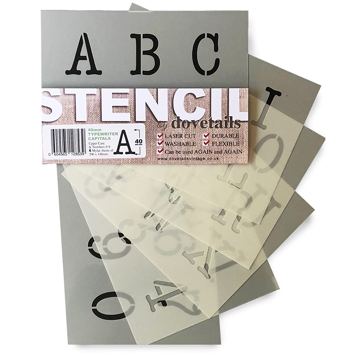 Dovetails TYPEWRITER ALPHABET STENCIL LETTERS & NUMBERS 0-9 40mm tall 1.57