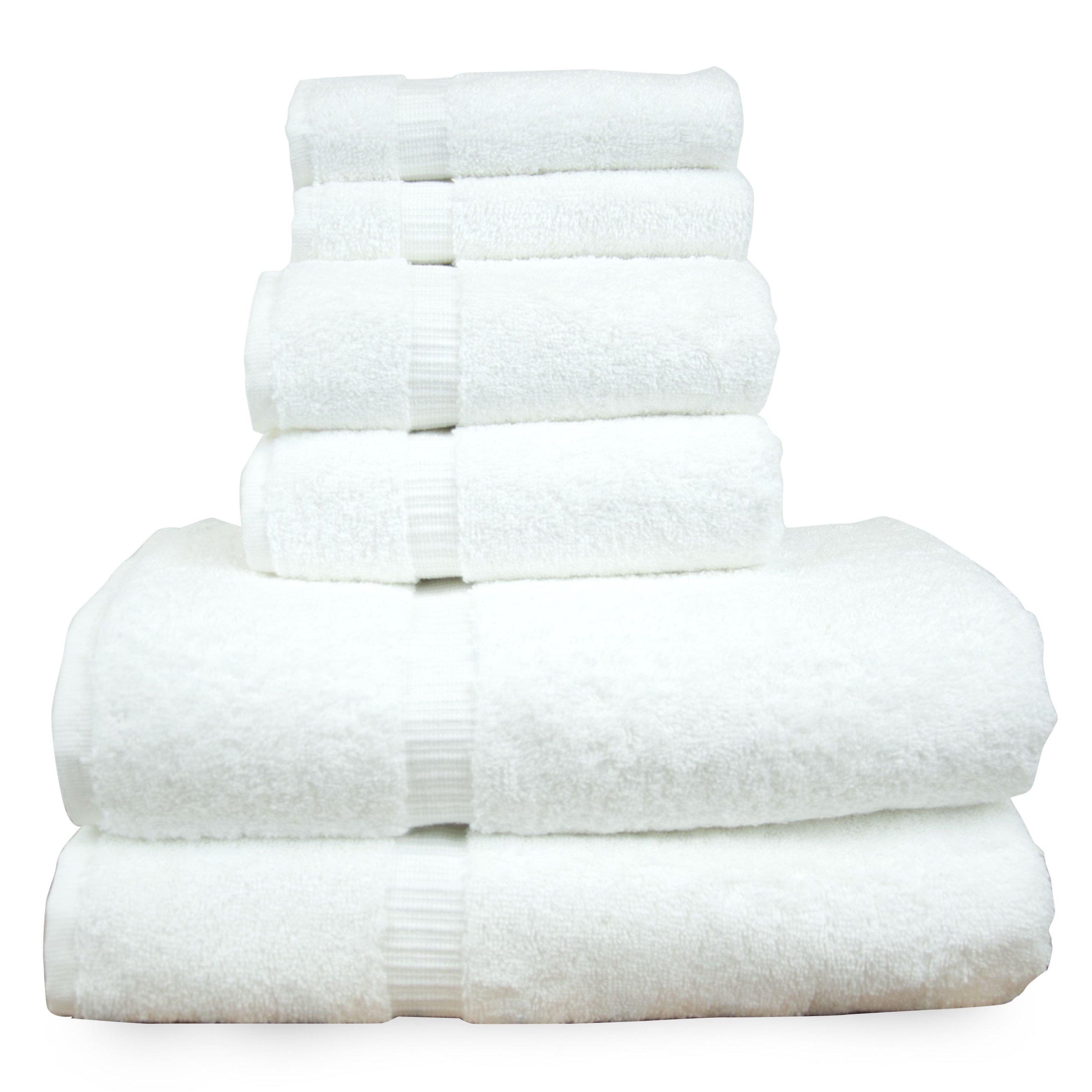 Luxury Hotel & Spa Towel Turkish Cotton Bath Towel Bundle (White, 6-Piece Towel Set)