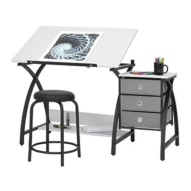 SD Studio Designs 13326 Comet Center with Stool, Black/White, 50  W x 23.75  D x 29.5  H