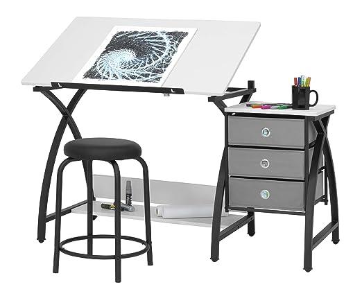 Studio Designs Mesa de dibujo con taburete, color plateado y negro ...
