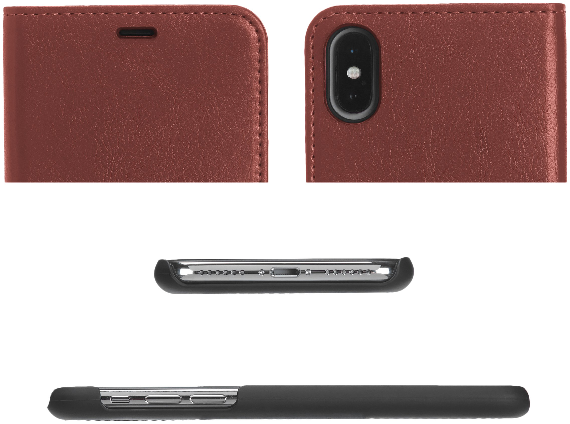 AmazonBasics iPhone X PU Leather Wallet Detachable Case, Dark Brown by AmazonBasics (Image #2)