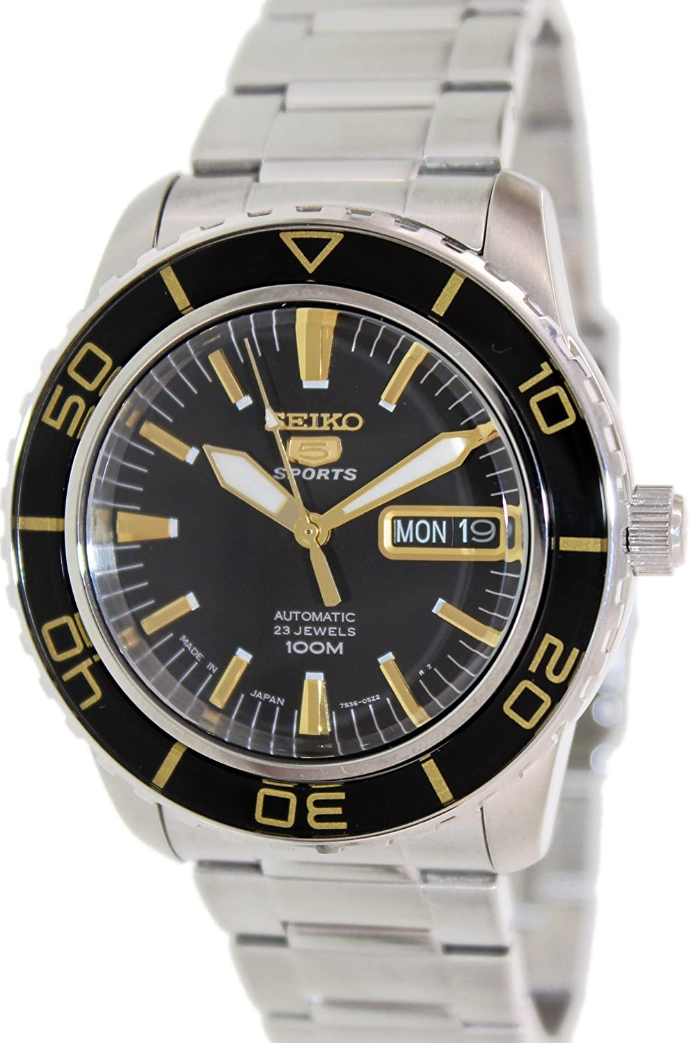 74f295df2cb Amazon.com  Seiko 5 Sports Automatic Black Dial Stainless Steel Mens Watch  SNZH57J1 by Seiko Watches  Seiko  Watches