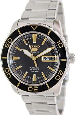 Seiko 5 Sports Automatic Black Dial Stainless Steel Mens Watch SNZH57J1 by Seiko Watches