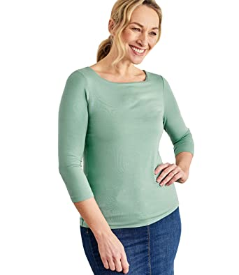 9cbc2091310 Wool Overs Womens Jersey Boat Neck 3 4 Sleeve T-Shirt at Amazon ...