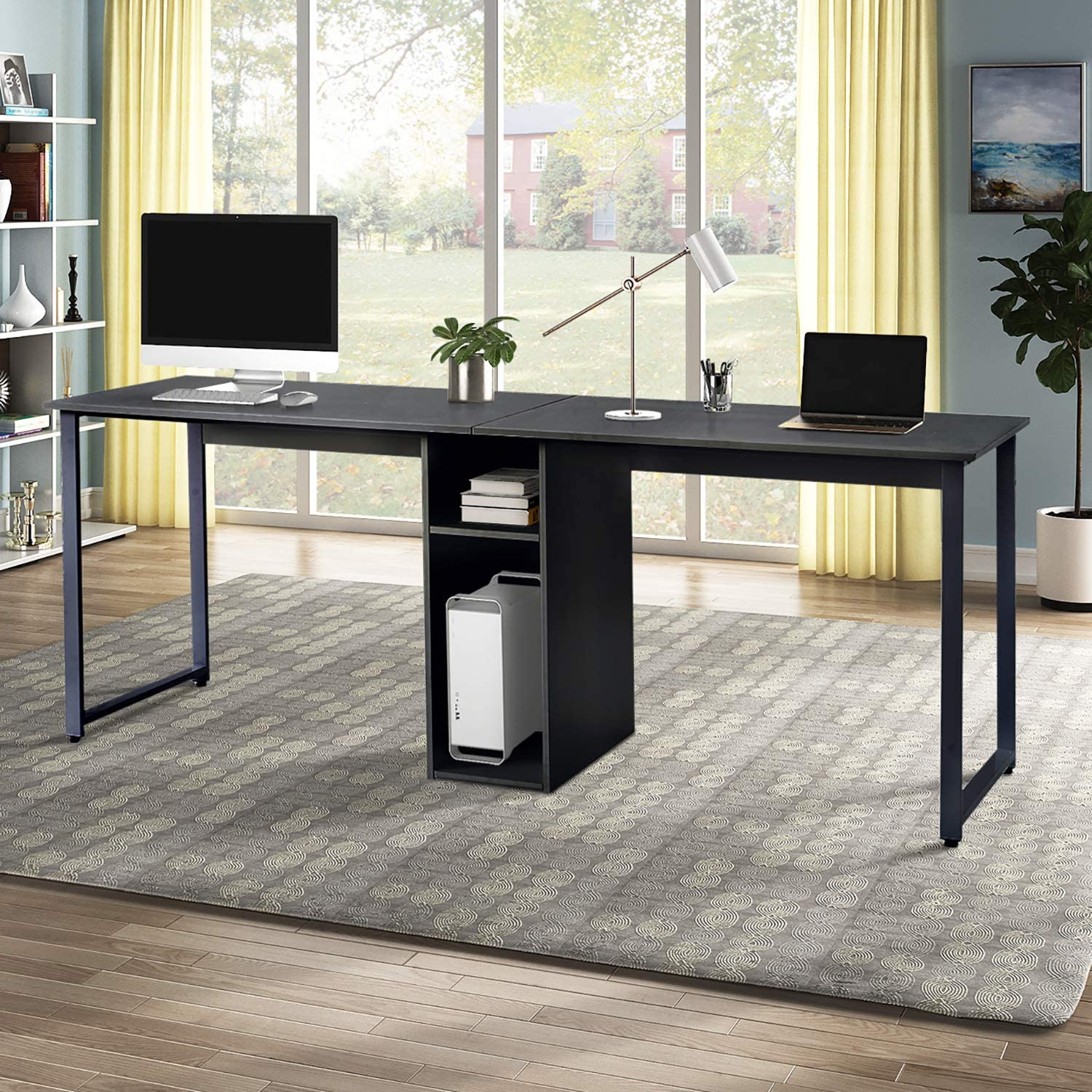 Merax Home Office 2-Person, Large Double Workstation, Writing Storage Desk, Black