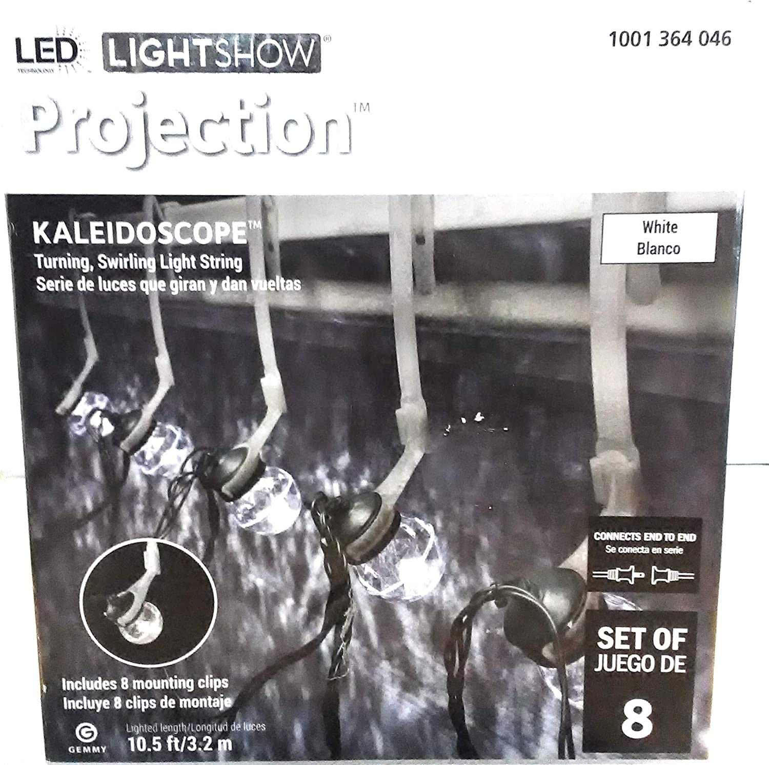 Gemmy Lightshow 8 Kaleidoscope Projection String Light Bulbs White LEDs w//Clips
