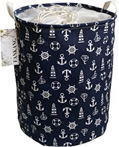 FANKANG Drawstring Storage Bins Nursery Hamper Canvas Laundry Basket Foldable with Waterproof PE Coating Large Storage Baskets, Office, Bedroom, Clothes, Toys Baby Shower Basket (Navy Anchor)