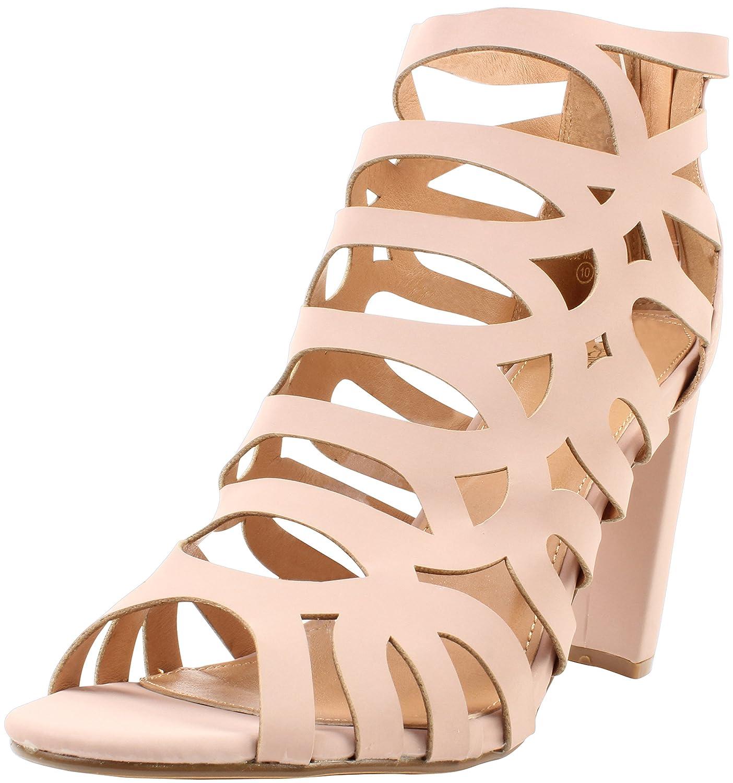 "Enimay Women's 4"" Zip Back High Heal Gladiator Sandals Casual Formal Open Toe Rose 8"
