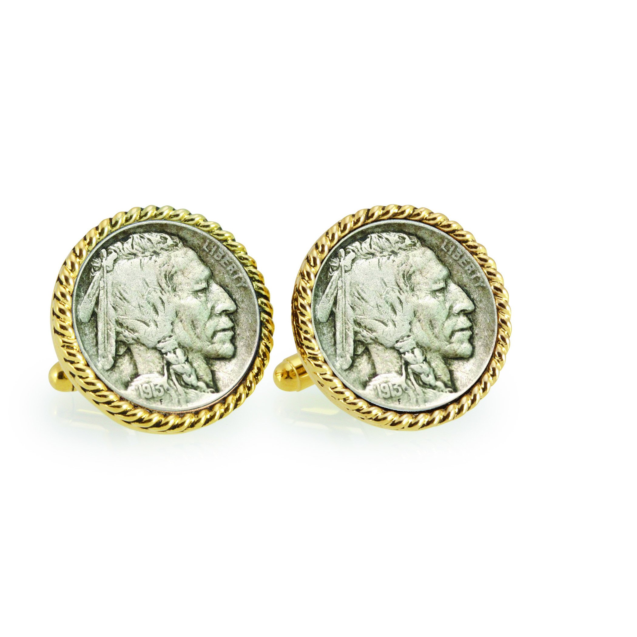 American Coin Treasures 1913 First-Year-of-Issue Buffalo Nickel Goldtone Rope Bezel Cuff Links