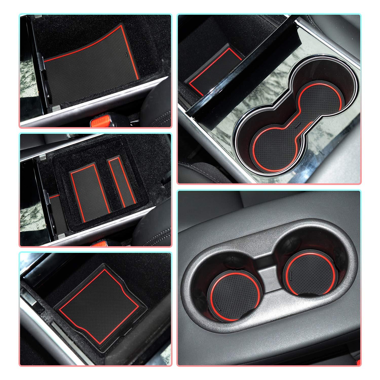 Rojo CDEFG para Tesla Model 3 Coche Accesorios Antideslizante Copa Mats Anti Slip Puerta Ranura de Acceso Kit de la Estera del coj/ín de la Ranura decoraci/ón de Interiores