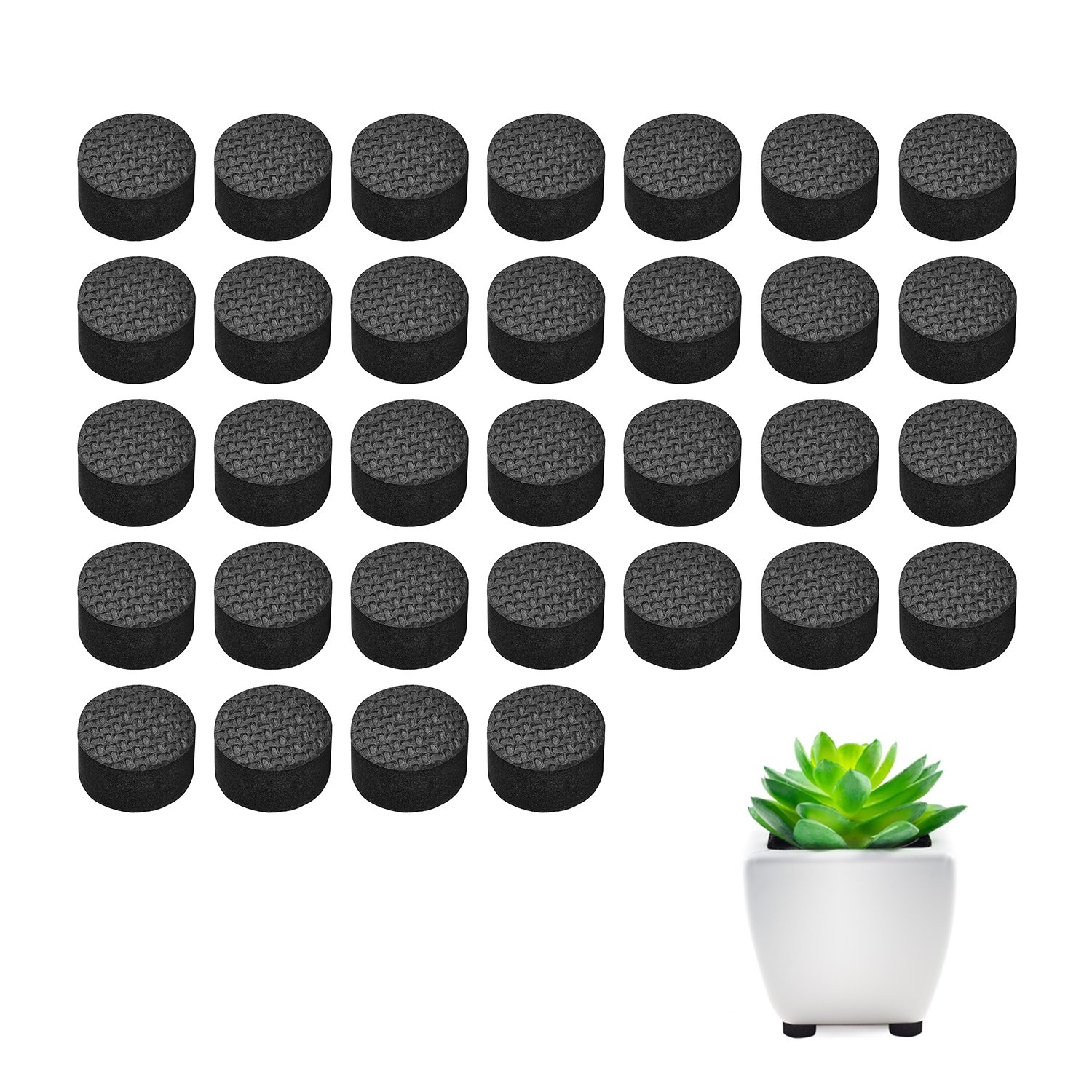 Pot Feet, Basenor Invisible Flower Pot Risers Anti-skin Furniture Pads with Strong Adhesive for Plant Pots, 32 pack by Basenor