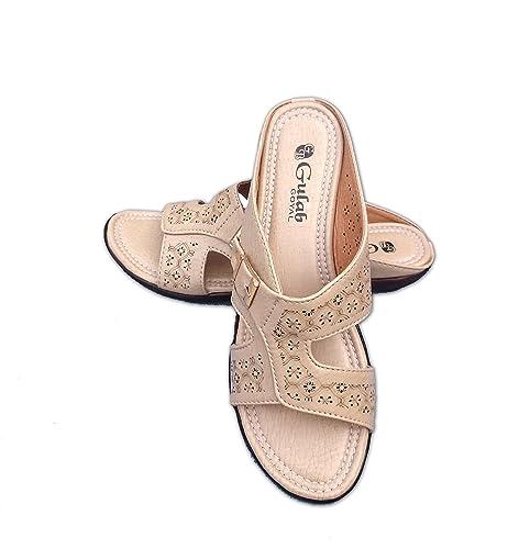 e1e2190e7144 Ryana Gulab Goyal Cream Slipper with Small Heel