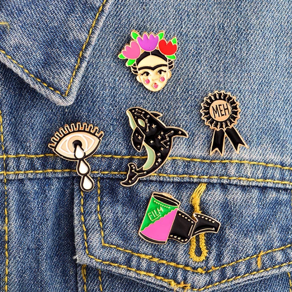 SM SunniMix 5pcs Cute Mixed Shape Brooch Pin Badges for Clothing Bags Backpacks Jackets
