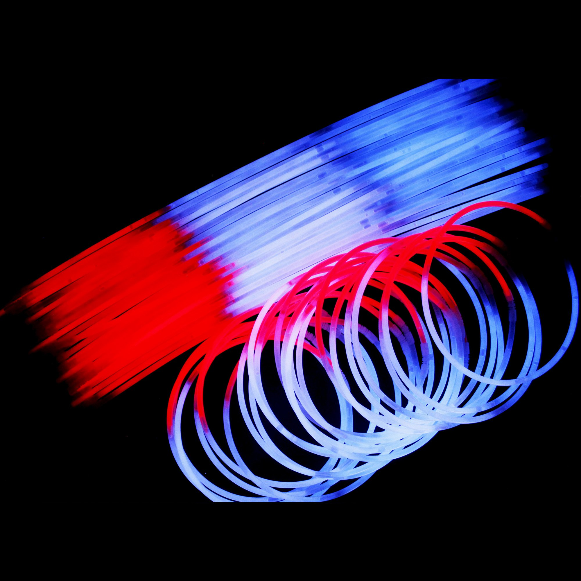 Fun Central J4, 50 Pcs 22 Inch Red-White-Blue Glow Stick Necklaces, Patriotic Necklace, Glow Necklace Bulk, Cool Glow Sticks, Glow Party Pack for 4th of July, Patriotic Party, Memorial Day by Fun Central (Image #3)