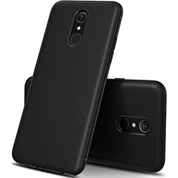 Geemai LG Q7 Funda Fina de Silicona, LG Q7 Funda Suave y Duradera, Funda de TPU, Estuche para Smartphone LG Q7.Negro