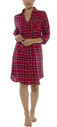 13001520d6 Foxbury Ladies 3 4 Sleeve Brushed Cotton Check Nightshirt Red Navy Check  8-10