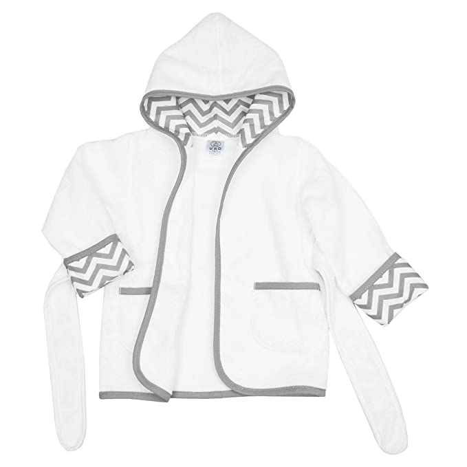 White//Gray 0-9 Months 83200WT-GR American Baby Company Baby Bathrobe Made with Organic Cotton