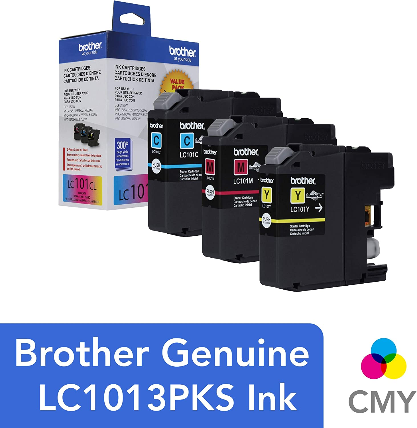 Brother Genuine Standard Yield Color Ink Cartridges, LC1013PKS, Replacement Color Ink Three Pack, Includes 1 Cartridge Each of Cyan, Magenta & Yellow, ...