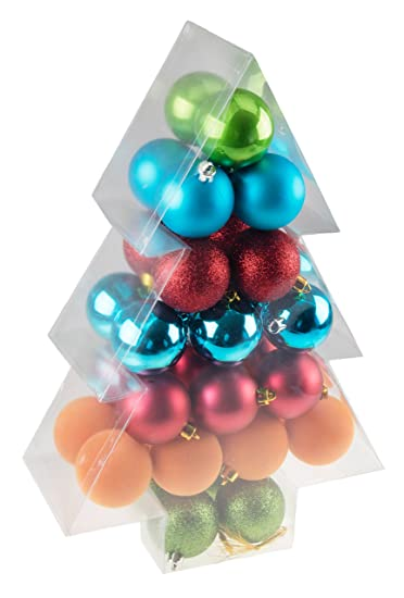 green red blue orange 34 piece shatterproof christmas tree ornaments by clever - Teal And Red Christmas Decorations