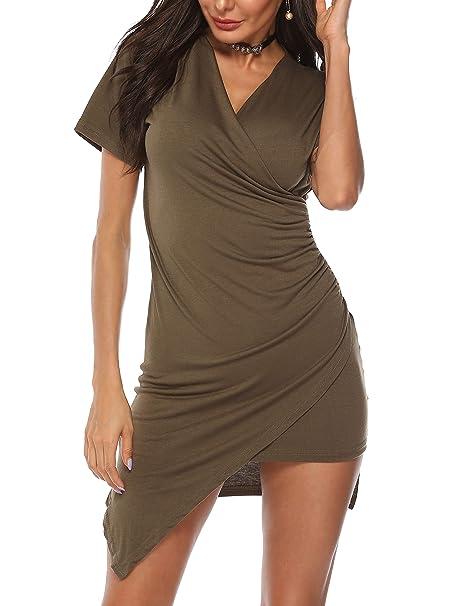 8186fe94b9df LYHNMW Women's Summer Sexy Elegant Vintage Deep V Neck Short Sleeve Bodycon  Party Dress at Amazon Women's Clothing store: