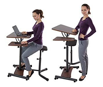 Teeter Sit Stand Desk   Adjustable Height Ergonomic Workstation With Stool,  Side Table,