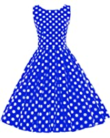 Women's Vintage 1950s Sleeveless Dress with Boat Neck Inspired Rockabilly Swing Dress