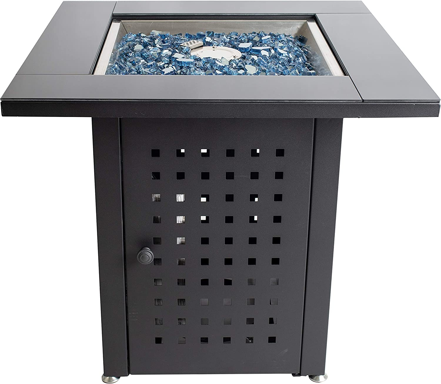 Pleasant Hearth OFG012T Lockwood Table Gas fire Pit, Matte Black Glass Top