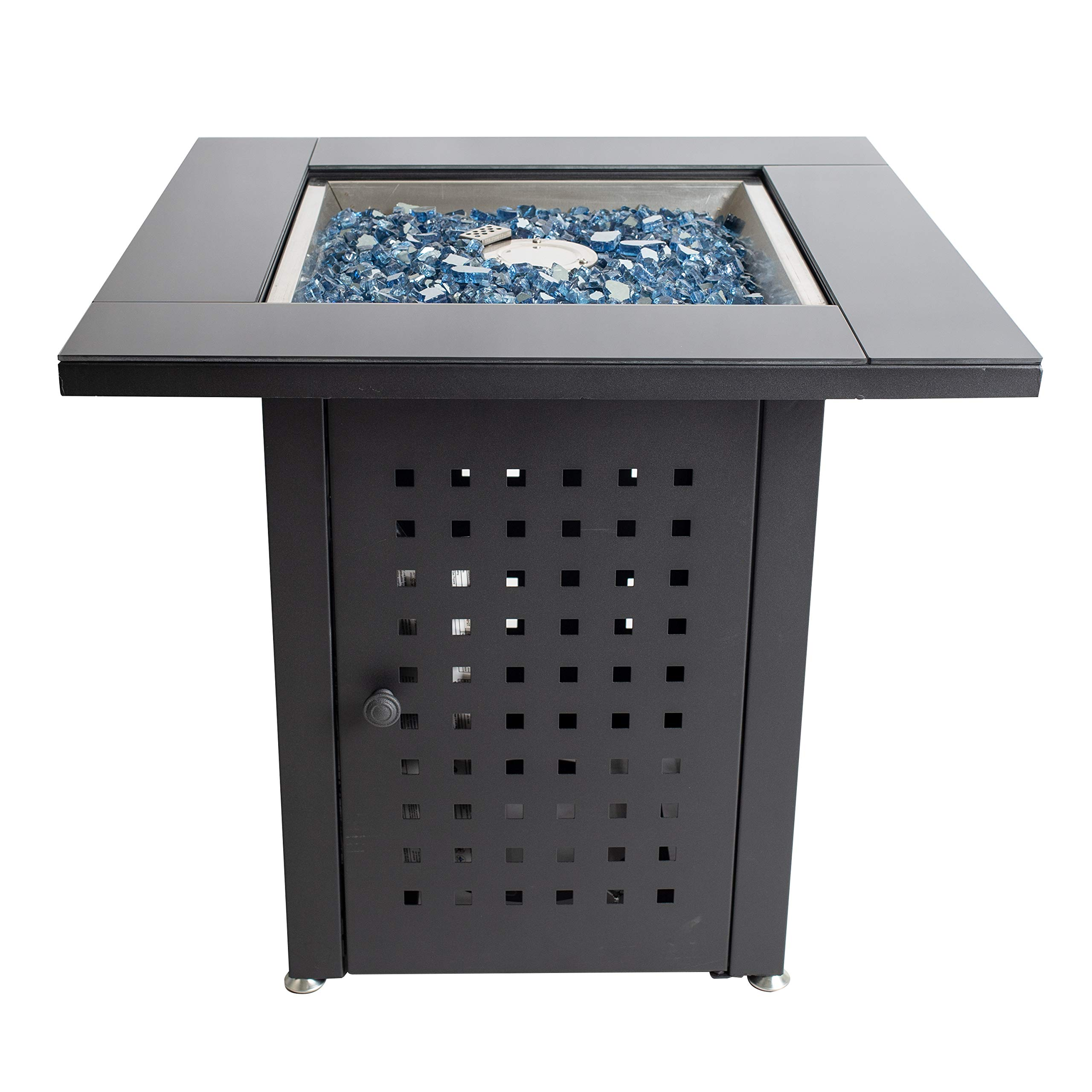 Pleasant Hearth OFG012T Lockwood Table Gas fire Pit, Matte Black/Glass Top by Pleasant Hearth