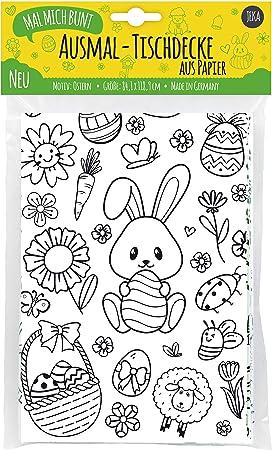 Jeka Papier Tischdecke Ostern Zum Ausmalen Ostertischdecke Ausmalbilder Ostern Kinder Ostergeschenk Fur Kinder Basteln Ostern Mal Mich Bunt Amazon De Spielzeug