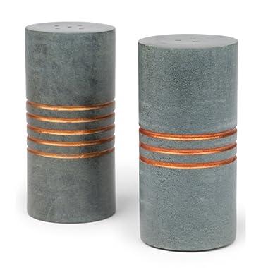 Carved Stone Cylinder Salt And Pepper Set 'Salt & Pepper Stone Shakers'