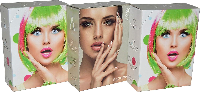 Salviette monouso per tintura, in scatola dispenser da 50 pezzi, per parrucchiere. Colore rosa PLASTICAPS