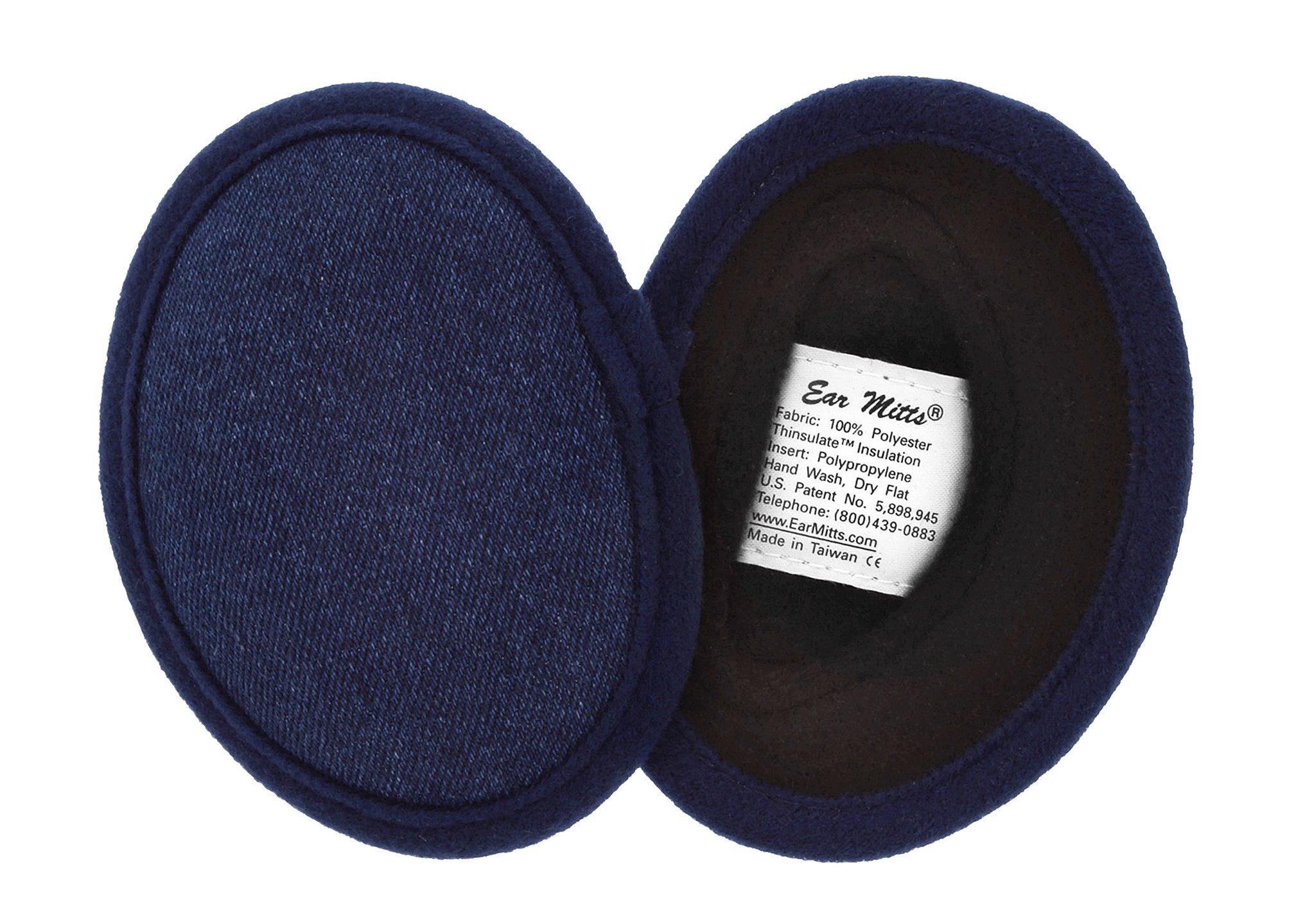 Ear Mitts Bandless Ear Muffs For Men & Women, Cotton Denim Ear Warmers, Regular
