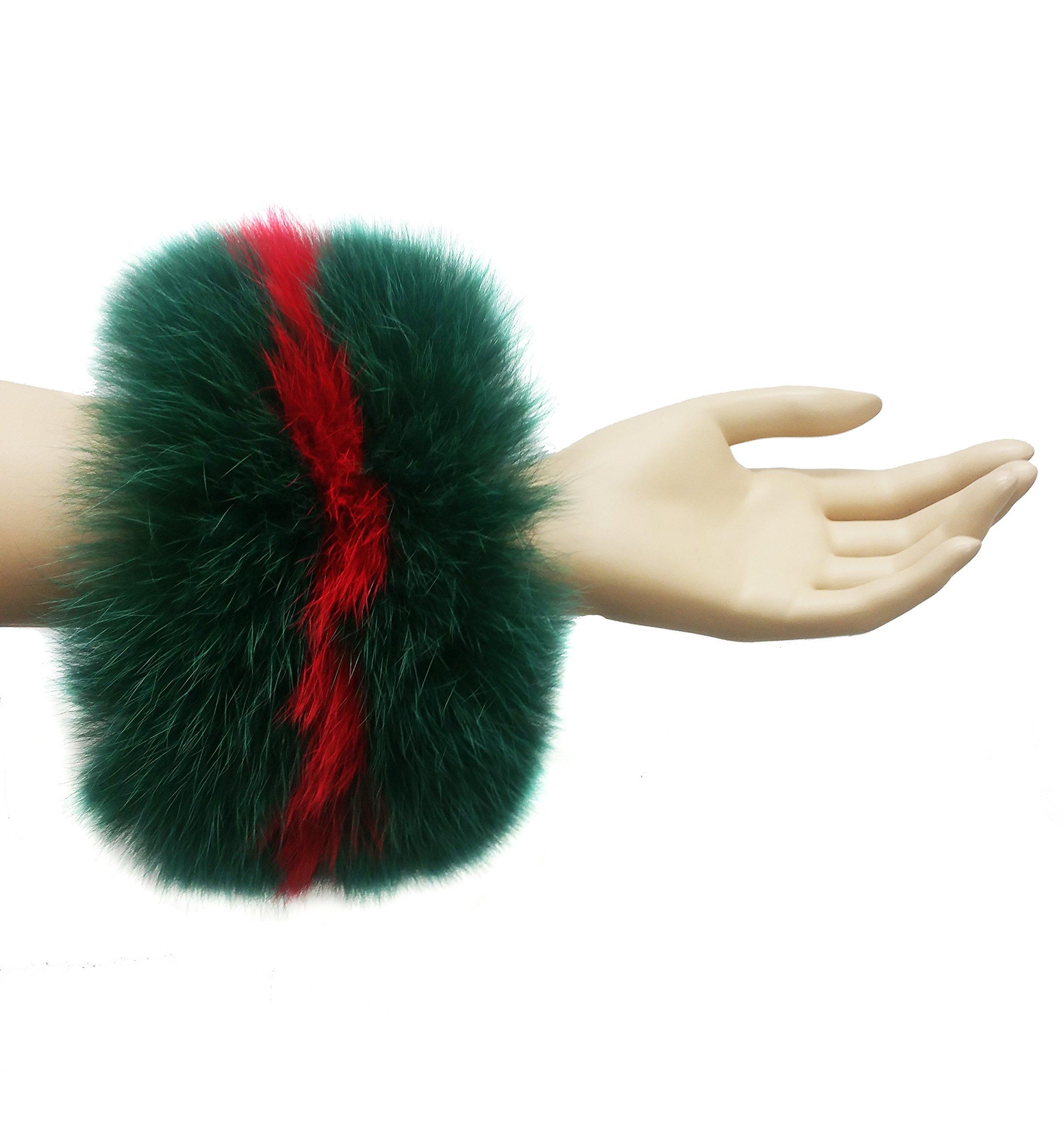 Hima Real Fox Fur Cuff (Dark Green/Red)