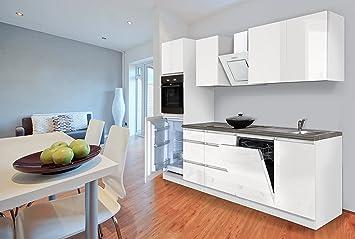 respekta Premium grifflos Küche Leerblock Küchenleerblock 270cm schwarz Glanz