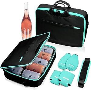 ACOVE Ultra Slim Cooler Bag | Insulated Leakproof | Can Cooler Sleeves & Beer Bottle Cooler Sleeves Set of 4 | Golf Cooler Bag for Beer, Wine | Daytrip Flat Cooler Lunch Bag for Women & Men