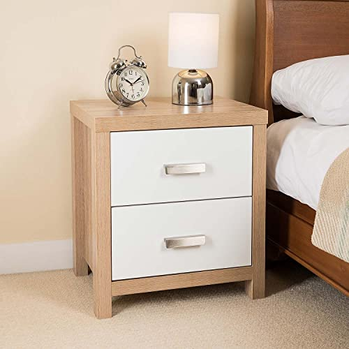 2 Drawer Oak Effect White Wood Bedside Cabinet Modern