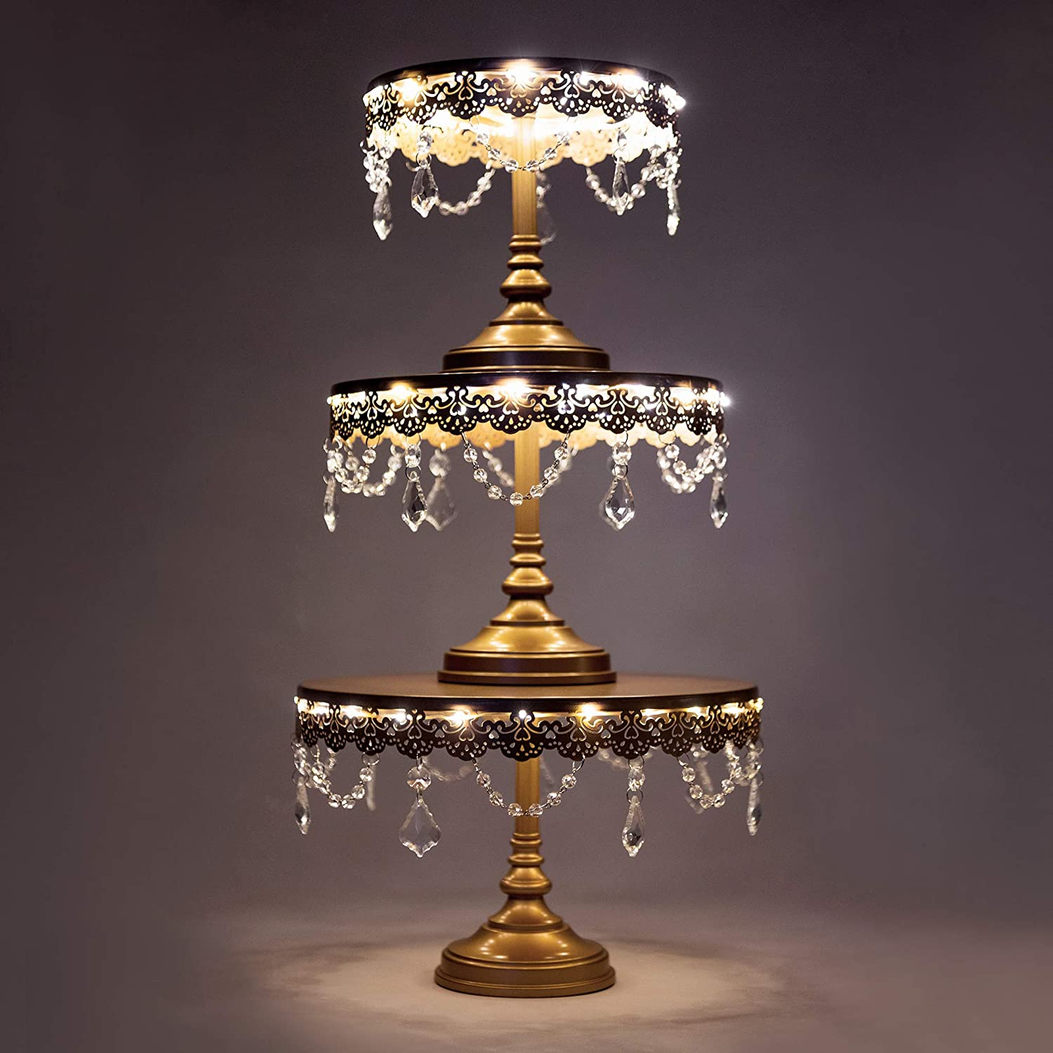 Amalfi Decor Cake Stand Set of 3 Pack with LED Lights, Dessert Cupcake Pastry Candy Plate for Wedding Event Birthday Party, Round Chargeable Metal Pedestal Holder, Gold