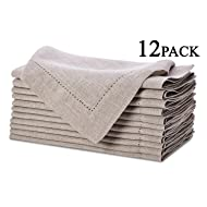 Pure Linen Oversized Napkins 12 Pack - Pure Linen Hemstitch Napkins - (Set of 12) Size 20x20 Natural - Hand Crafted and Hand Stitched Napkins with Hemstitch detailing on Genuine Linen Fabric