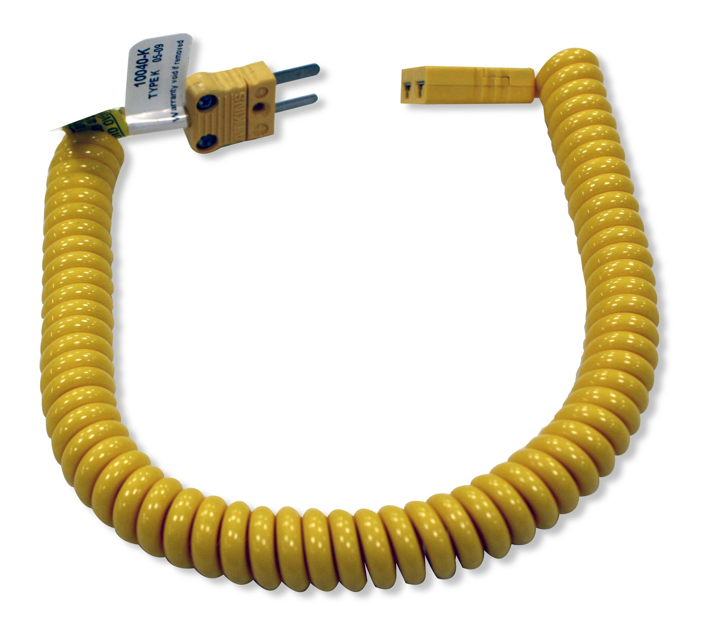 Cooper-Atkins 10040-K Polyurethane Coiled Retractable Extension Thermocouple Cable, K Type, 48'' Length