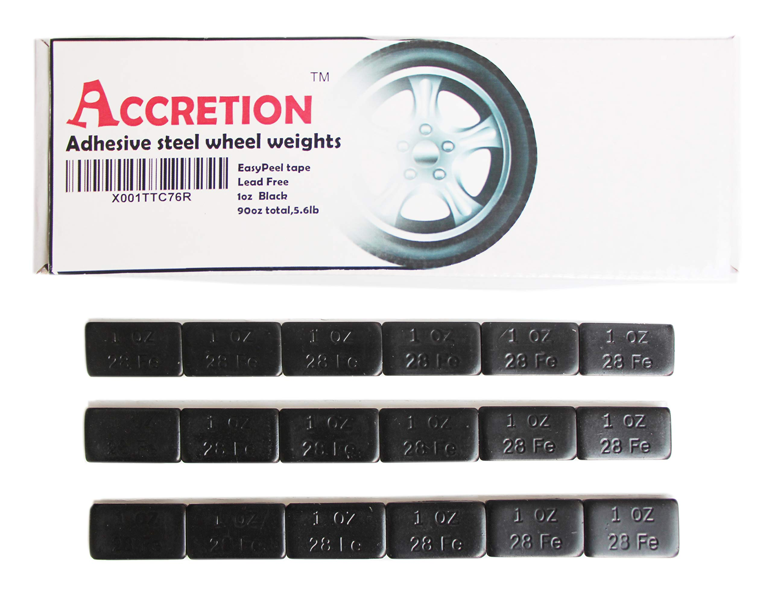 Accretion 1 oz, Black Wheel Weights (Lead Free), USA Made White Tape Backing. Corrosion Resistance, Low Profile. 90 Oz Total,5.6 Lbs(90 Pcs) by Accretion