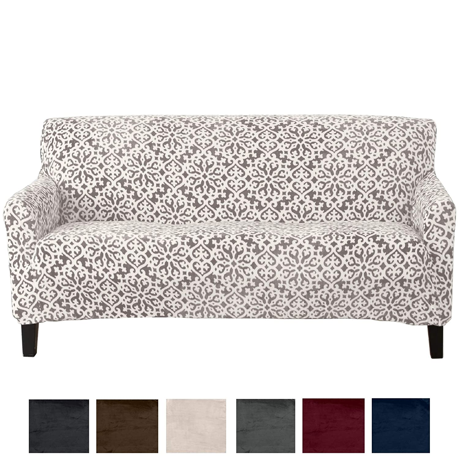 Great Bay Home Modern Velvet Plush Strapless Slipcover. Form Fit Stretch, Stylish Furniture Cover/Protector. Gale Collection Brand. (Sofa, Snowflake - Wild Dove Grey)