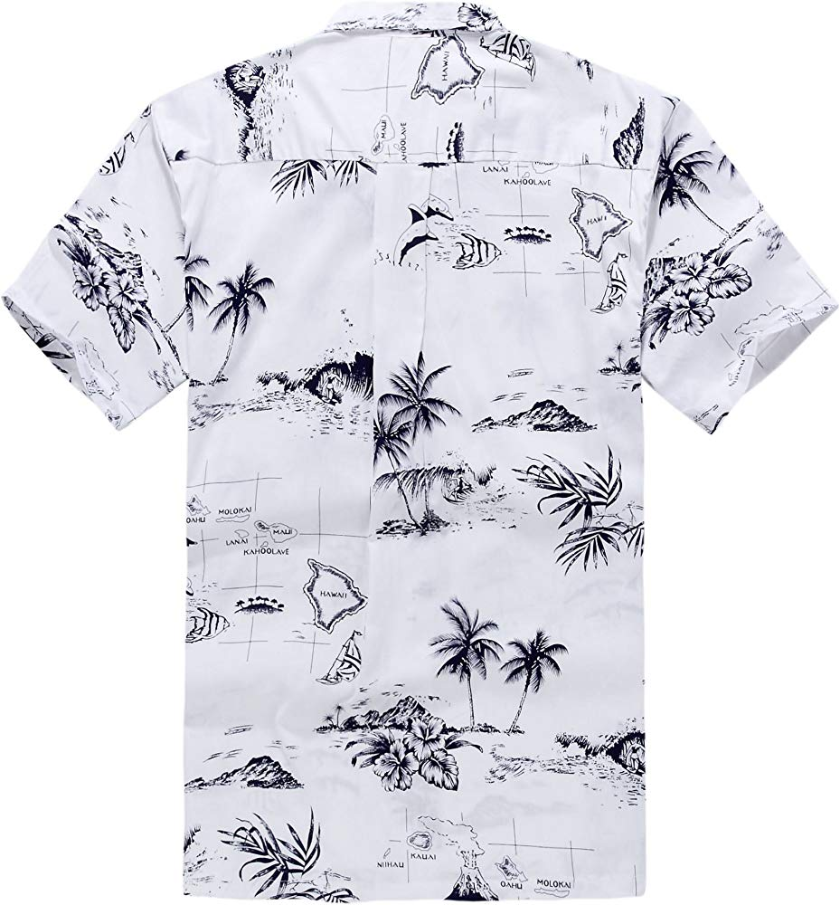 Palm Wave Young Adult Boy Hawaiian Aloha Luau Shirt in White Map and Surfer