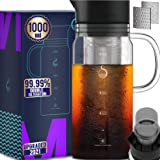 100% Airtight Cold Brew Glass Coffee Maker Iced Tea Maker Juice Water Carafe Server with Removable Permanent Double Mesh…