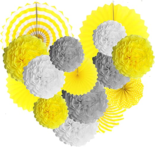 Furuix You Are My Sunshine Party Decoration Yellow Grey Elephant Baby Shower Decorations Tissue Paper Pom Pom Honeycomb Balls for Bridal Shower Birthday Decorations